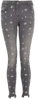 Quiz Grey Diamante Detail Skinny Jeans