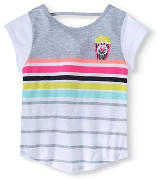 365 Kids From Garanimals Little Girls' 4-8 Striped Open Back T-Shirt with Sequins