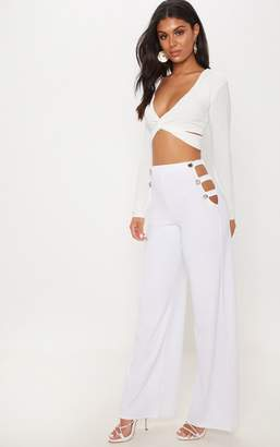 PrettyLittleThing White Cut Out Side Button Wide Leg Trouser