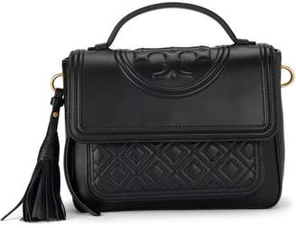 Tory Burch Fleming Black Quilted Leather Satchel