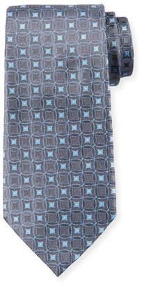 Emporio Armani Retro Pattern Silk Tie, Gray