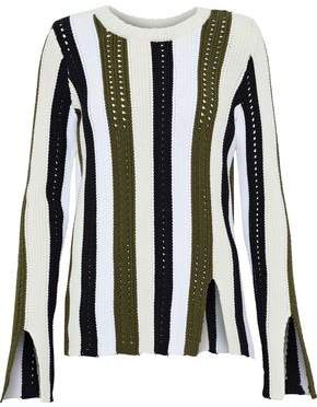 Derek Lam 10 Crosby Open Knit-Trimmed Striped Cotton-Blend Sweater