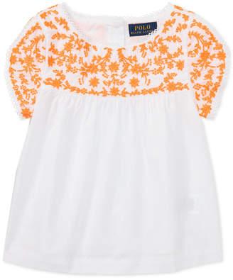 Polo Ralph Lauren Embroidered Cotton Top, Little Girls