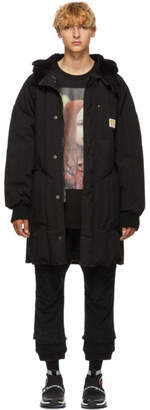 R 13 Black Sherpa Hood Down Jacket