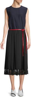 Marc Jacobs Crewneck Sleeveless Colorblock A-Line Silk Midi Dress w/ Lace Hem