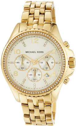 MICHAEL Michael Kors 44mm Pilot Glitz Chronograph Watch, Golden