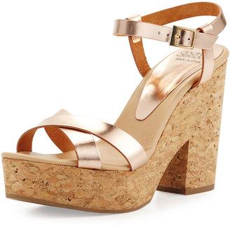 André Assous Finnley Metallic Cork Platform Sandal, Rose $209 thestylecure.com