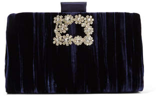 Roger Vivier Crystal-embellished Crushed-velvet Clutch - Midnight blue