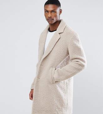 Asos Design TALL Relaxed Borg Overcoat in Ecru