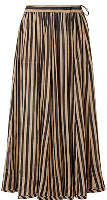 Zimmermann Jaya Striped Cotton-gauze Midi Skirt - Sand