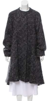 Carmen Marc Valvo Long Tweed Coat