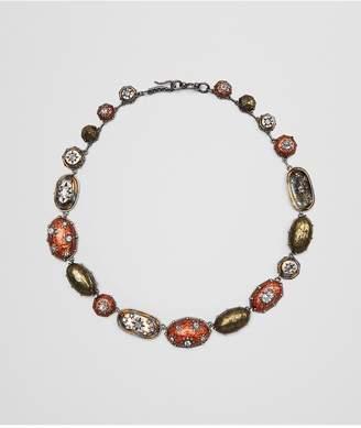 Bottega Veneta Natural Brown Antique Silver Stellular Necklace