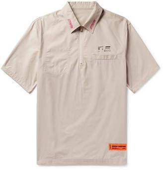Heron Preston Oversized Embroidered Printed Half-Zip Cotton-Poplin Shirt