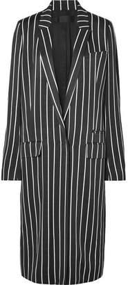 Haider Ackermann Striped Matte-satin Coat - Black