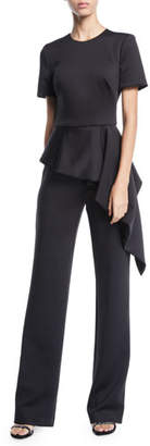 Black Halo Short-Sleeve Asymmetric Peplum Jumpsuit