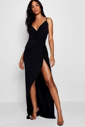 boohoo Tall Drape Wrap Maxi Dress