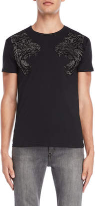 Heads Or Tails Black Rhinestone Tiger Tee