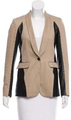 Rag & Bone Leather-Paneled Shawl Lapel Blazer
