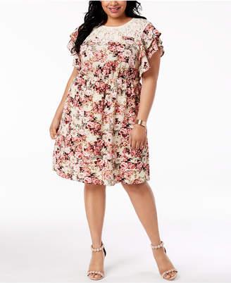 Monteau Trendy Plus Size Lace-Trim A-Line Dress