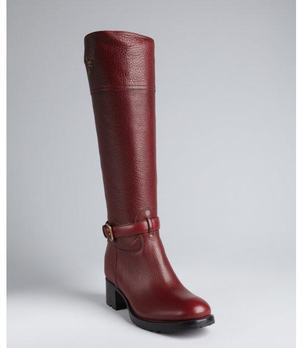 Prada amarone red pebbled leather raised goldtone logo buckle motorcycle boots