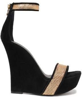 Balmain Embellished Suede Wedge Sandals