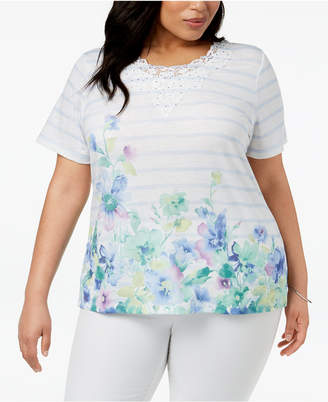Alfred Dunner Daydream Plus Size Floral-Print Striped Top