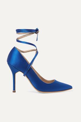Vetements - Manolo Blahnik Satin Pumps - Bright blue $1,775 thestylecure.com
