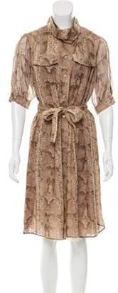 Saint Laurent Silk Snakeskin Print Dress w/ Tags
