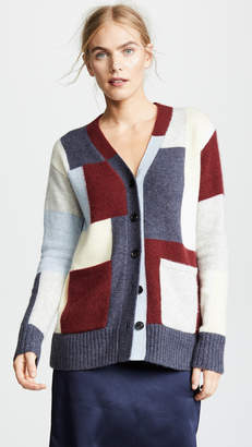 ADAM by Adam Lippes Brushed Cashmere Knit Patchwork Cardigan