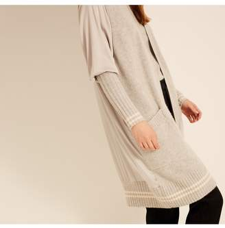Amanda Wakeley Pebble Ecru Ribbed Cashmere Cardigan