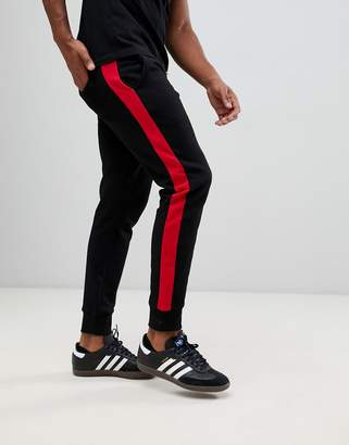 New Look joggers with side stripe in black