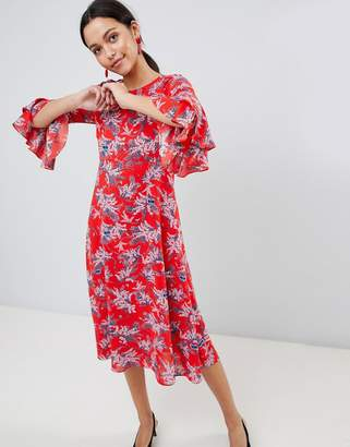 Traffic People Floral Print Midi Dress With Flute Sleeve