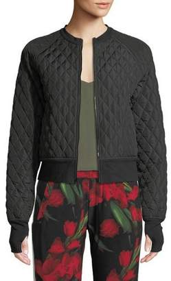 Norma Kamali Cropped Quilted Zip-Front Bomber Jacket