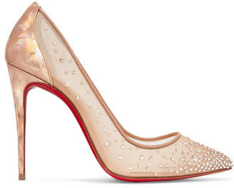 Christian Louboutin Follies 100 Crystal-embellished Mesh And Metallic Leather Pumps - IT41