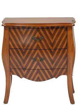 Heather Ann 2 Tone Wood V Stripe Classic 2 Drawer Bombay Chest