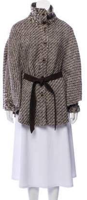 Rena Lange Wool Belted Cape Brown Wool Belted Cape