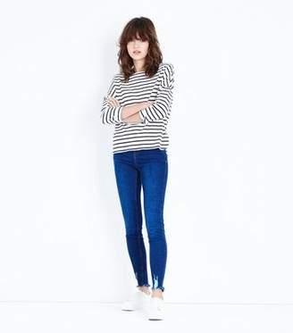 New Look Blue Rinse Wash Fray Hem Skinny Jenna Jeans