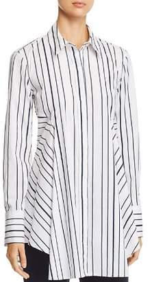 Donna Karan Striped Button-Down Flare Top