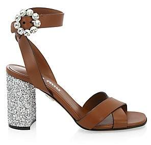 d5e43b61c Miu Miu Women s City Leather Glitter-Heel Sandals