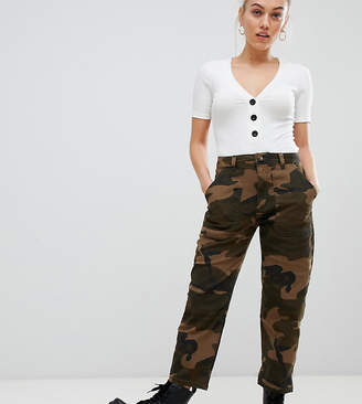 New Look Petite camo trousers in green