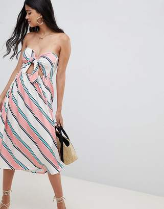 Asos DESIGN midi sundress with tie front in stripe