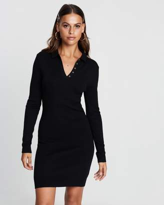 Missguided Button Collar Long Sleeve Mini Dress