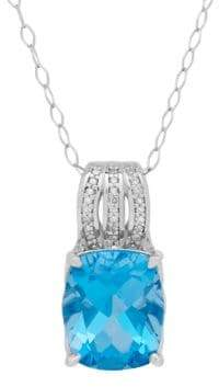 Lord & Taylor Diamond and Sterling Silver Cushion Pendant Necklace