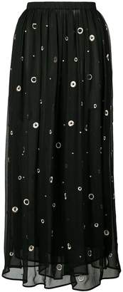 Vince metallic embroidered midi skirt