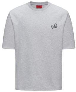 HUGO Boss Scribbled Cotton Blend Short-Sleeve Sweatshirt Deast M Open Grey