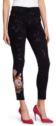 Joe's Jeans The Charlie High Waisted Embroidered Paint Splatter Skinny Jeans