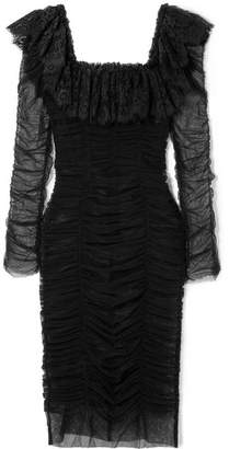 Dolce & Gabbana Lace-trimmed Ruched Tulle Midi Dress - Black
