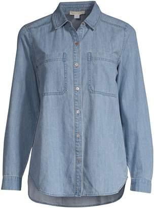 Eileen Fisher Organic Cotton Denim Button-Down Shirt