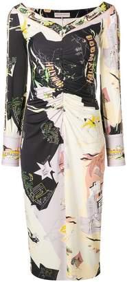 Emilio Pucci wide v-neck cuffed dress