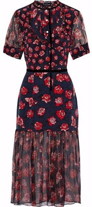 Markus Lupfer Susie Floral-Print Silk-Chiffon And Crepe De Chine Midi Dress